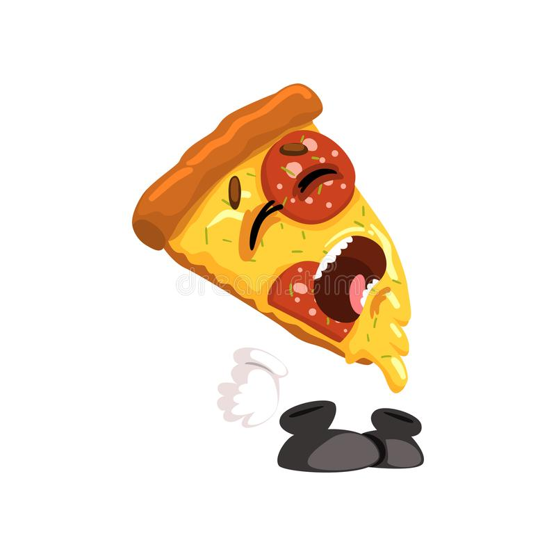 Crying slice of pizza, funny cartoon fast food character vector Illustration on a white background. Crying slice of pizza, funny cartoon fast food character stock illustration