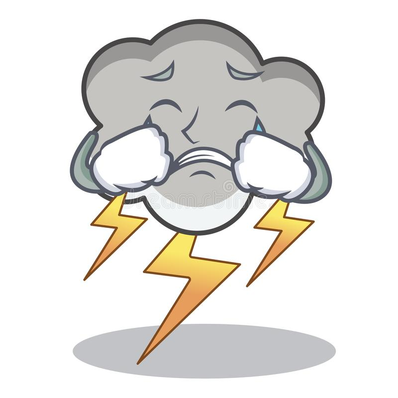Crying thunder cloud character cartoon. Vector illustration royalty free illustration