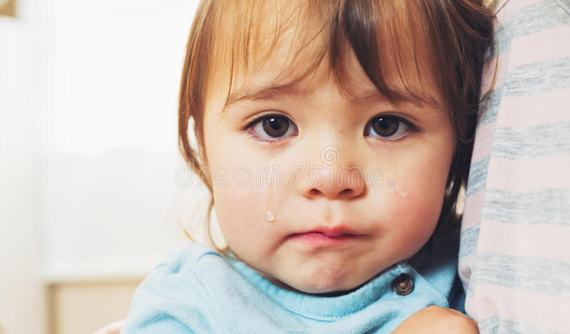 Crying toddler girl stock photo
