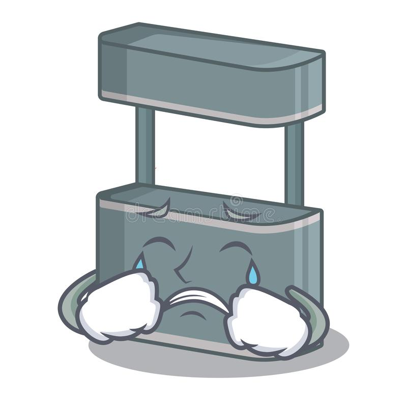 Crying trade stand on the cartoon roadside. Vector illustration stock illustration