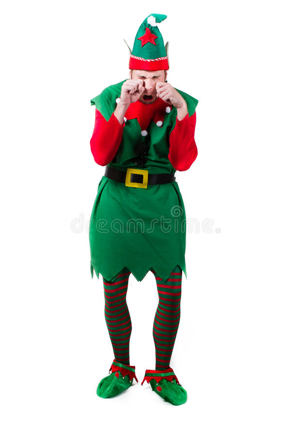 Download Crying Upset Elf stock image. Image of background, green - 29403645