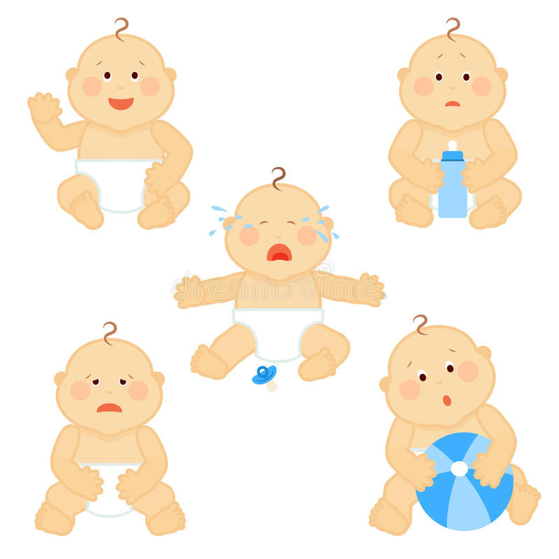 Crying vector baby toddler with milk bottle isolated on white background. Little baby boy sad and surprised, illustration of cute baby in diaper with ball royalty free illustration