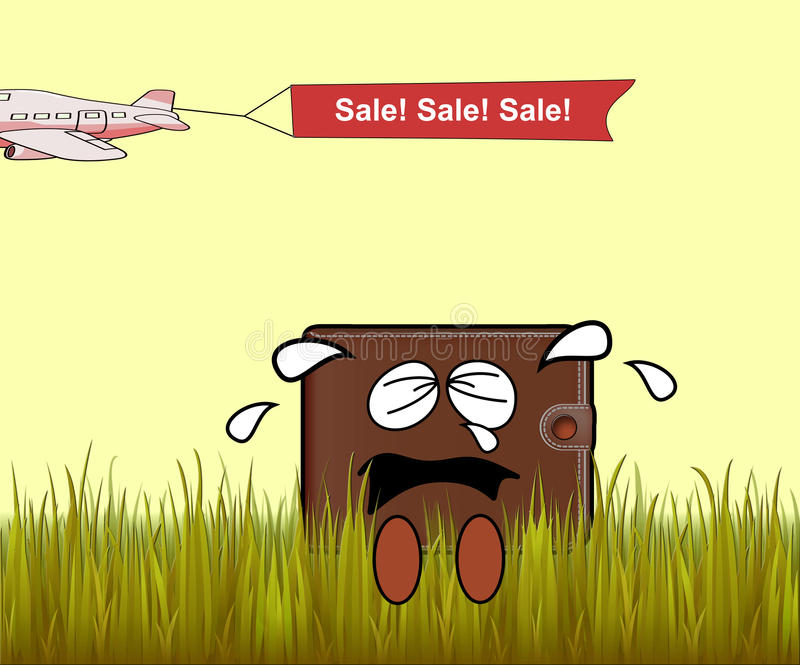 A crying wallet. A wallet sitting on the grass crying beacause of the sale vector illustration