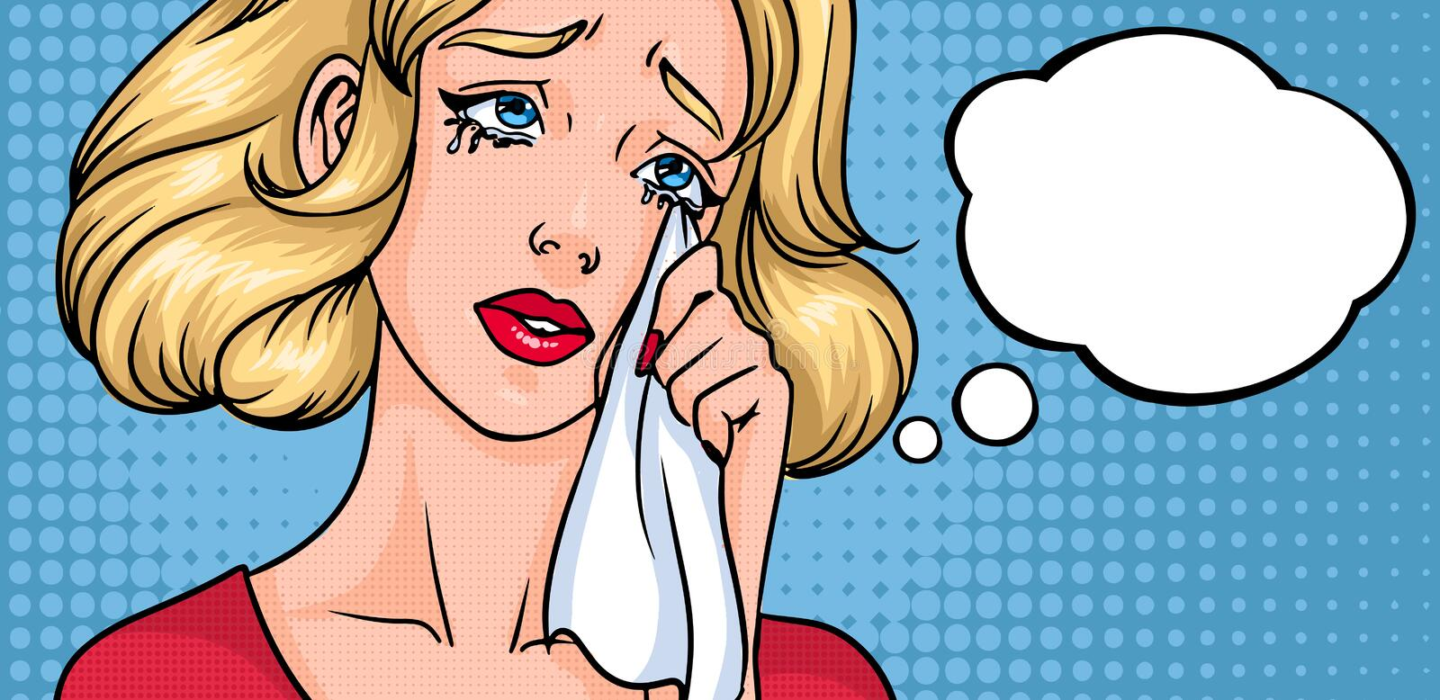 Crying woman face. Sad girl, horizontal background with place for text. Empty blank speech bubble. Colorful comics. Vector illustration in pop art style royalty free illustration