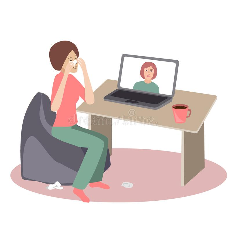 Free Crying Woman Seating At Her Desk In Front Of Her Laptop Having An Online Call With Her Therapist. Vector Illustration Stock Image - 178213741