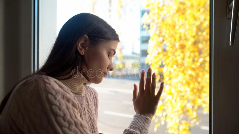 Crying woman touching window, felling sorrow and frustration, autumn depression stock image