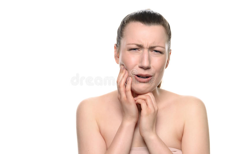 Crying young woman Suffering From Toothache stock photography