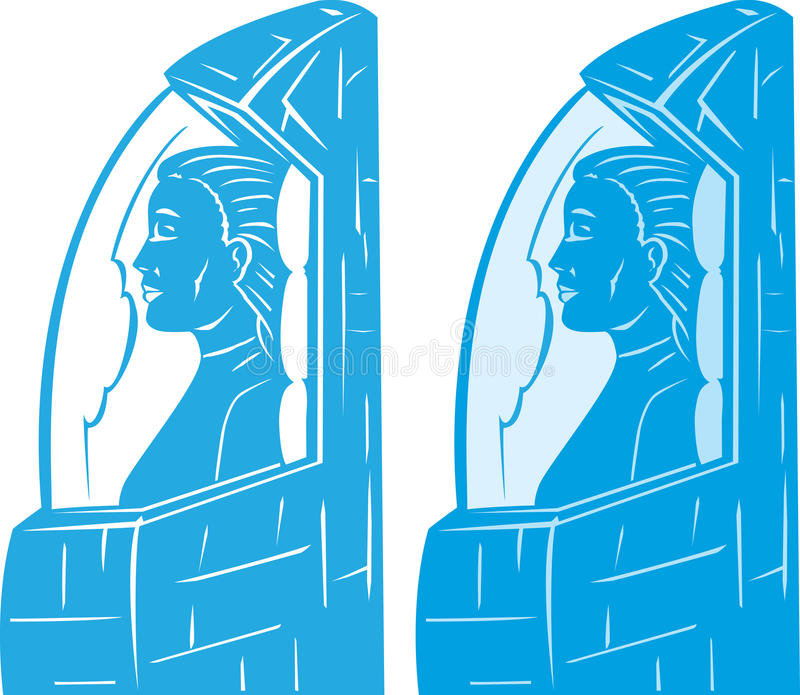 Cryo girl. Drawing of a girl in a cryogenic freeze stock illustration