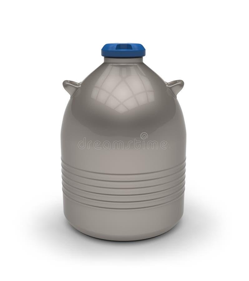 Cryogenic Dewar flask. Isolated on white royalty free illustration