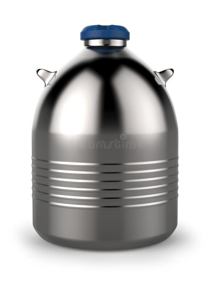 Cryogenic Dewar flask. Isolated on white stock illustration