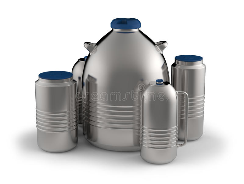 Cryogenic Dewar flasks. Isolated on white vector illustration