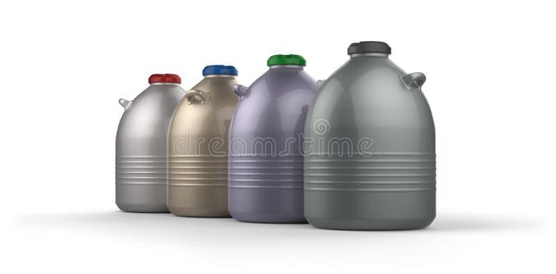 Cryogenic Dewar flasks. Isolated on white royalty free illustration