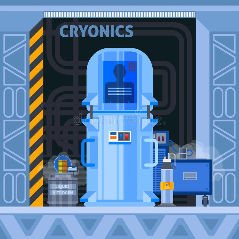 Cryogenic Facilities Flat Background. Cryogenic crionics transplantation flat composition with images of cryocamera with human identifier and additional royalty free illustration