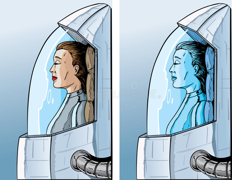 Cryogenic girl. Drawing of a girl in a cryogenic freeze stock illustration