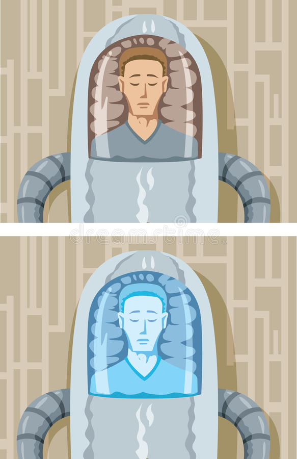 Cryogenic man. Drawing of a man in a cryogenic freeze vector illustration
