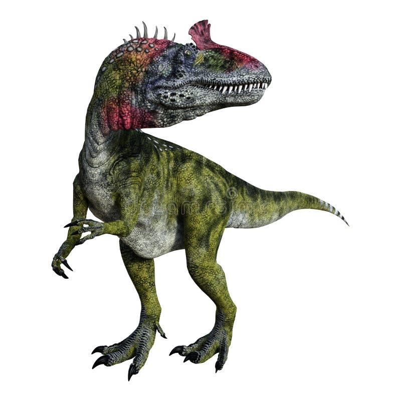 Cryolophosaurus do dinossauro da rendição 3D no branco ilustração do vetor