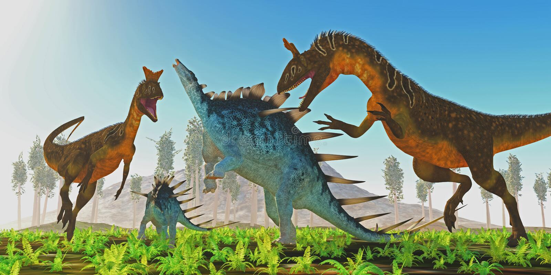 Cryolophosaurusaanvallen Kentrosaurus stock illustratie
