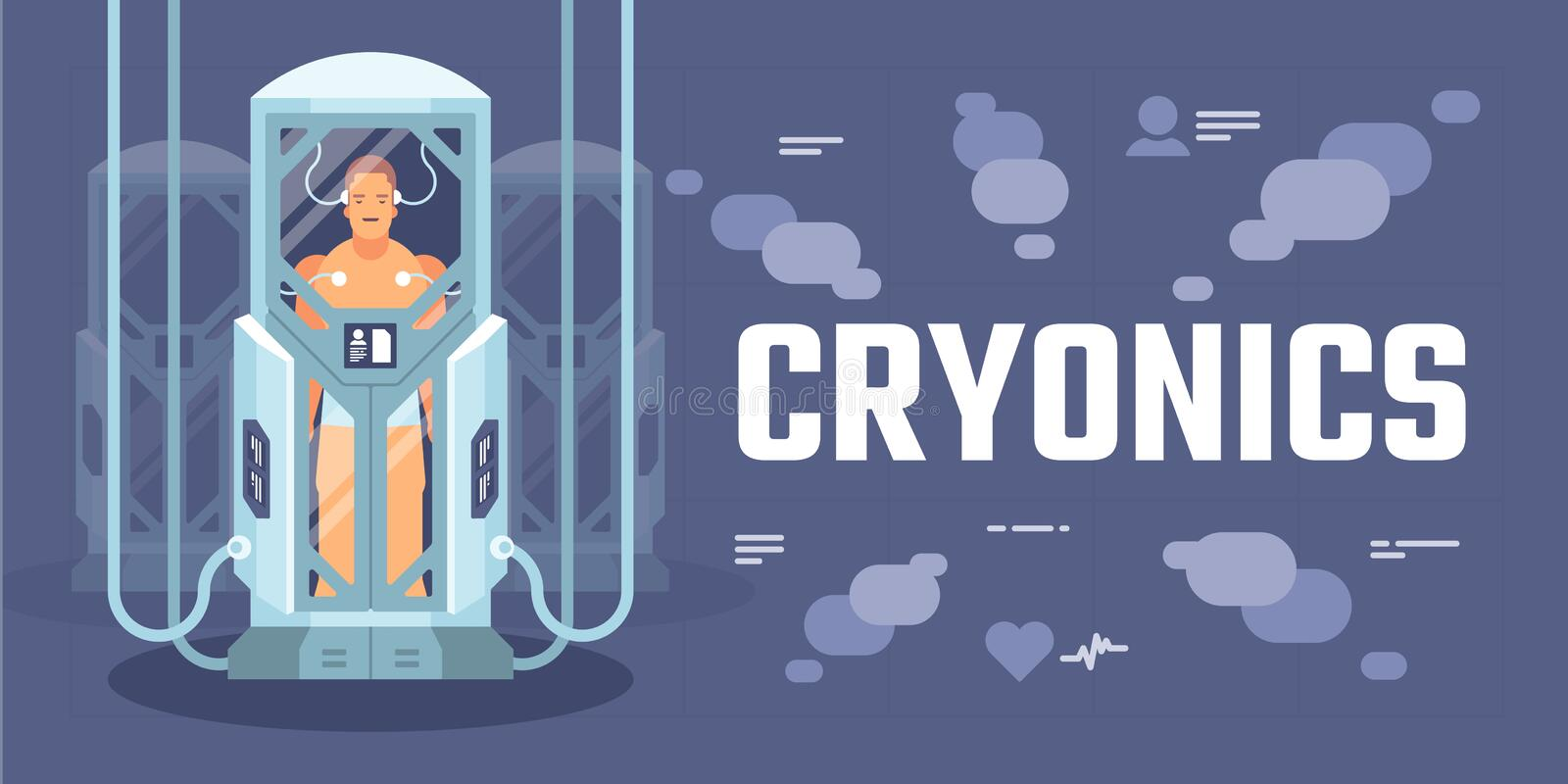 Cryonics. Futuristic cryogenic capsules or containers with humans on spaceship or space shuttle science vector illustration