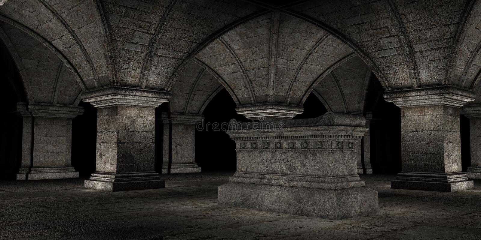 Crypt. 3D rendered scene of dark crypt with tomb vector illustration