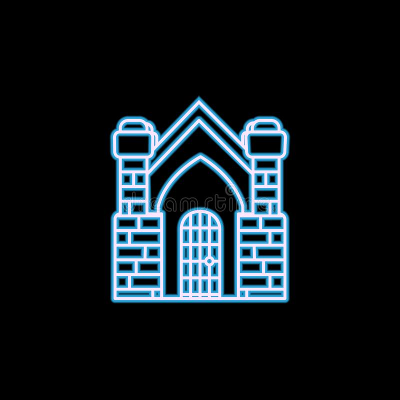 Crypt building icon in neon style. One of Life style collection icon can be used for UI, UX. On black background stock illustration