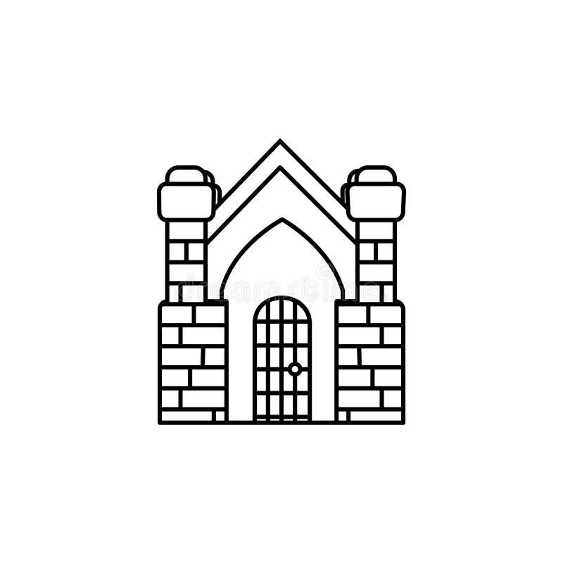 Crypt building icon. On white background stock illustration