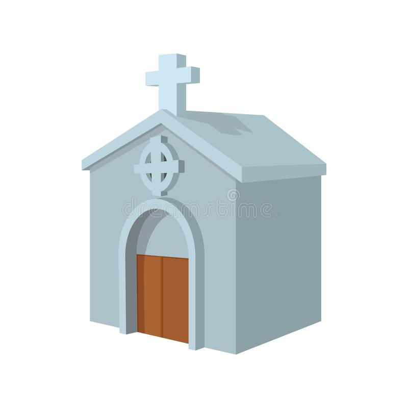 Crypt in cemetery cartoon icon. On a white background vector illustration