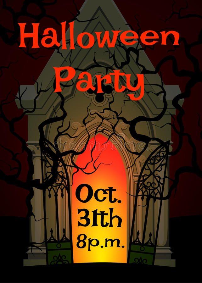 Crypt and cemetery. Halloween poster for party with crypt and cemetery royalty free illustration