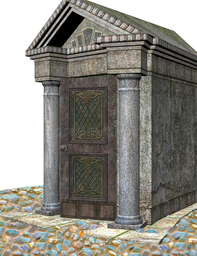 Crypt 3d. 3D render of a crypt on white background vector illustration