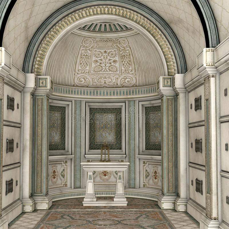 Crypt, 3DCG. Fantasy crypt with arch and altar 3D background vector illustration