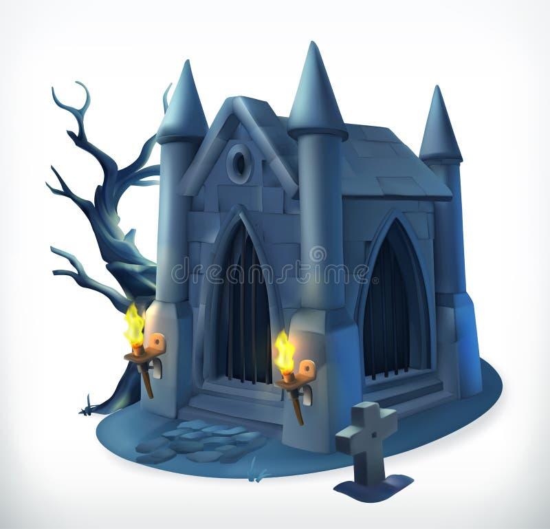 crypt Dia das Bruxas feliz, ícone do vetor ilustração stock
