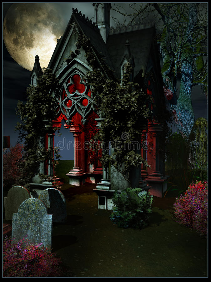 Crypt entrance. Gloomy red crypt entrance with graves royalty free illustration