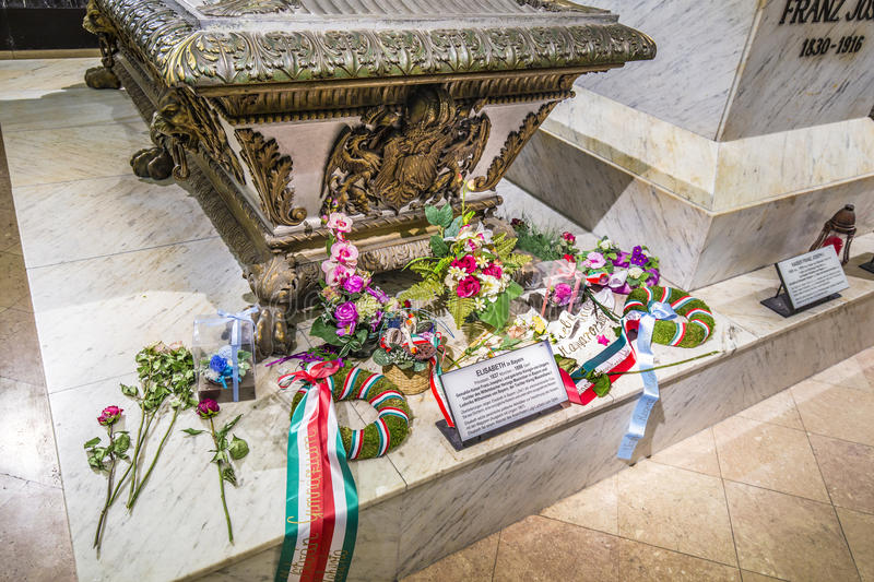 Crypt of the Habsburger Queen Elisabeth called Sisi in Vienna. VIENNA, AUSTRIA - APR 26, 2015: crypt of the Habsburger Queen Elisabeth called Sisi in Vienna royalty free stock images