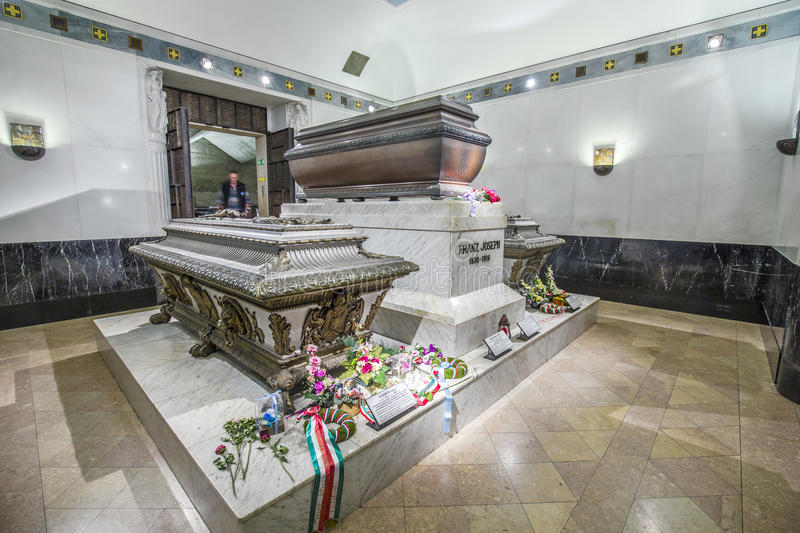 Crypt of the Habsburger Queen Elisabeth called Sisi in Vienna. VIENNA, AUSTRIA - APR 26, 2015: crypt of the Habsburger Queen Elisabeth called Sisi in Vienna stock image