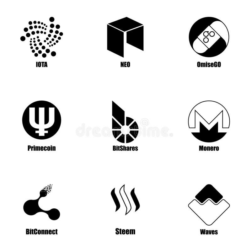 Crypt icons set, simple style. Crypt icons set. Simple set of 9 crypt vector icons for web isolated on white background vector illustration