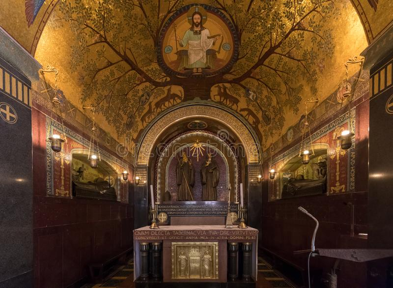 Crypt Inside the Basilica Cathedral at Monte Cassino Abbey. Italy royalty free stock photography
