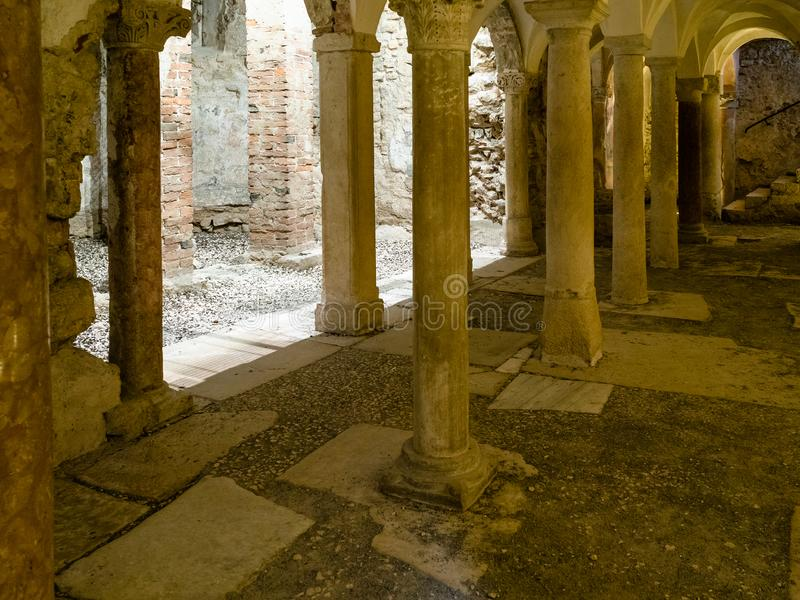 Crypt of San Salvatore in Monastery Santa Giulia stock photo