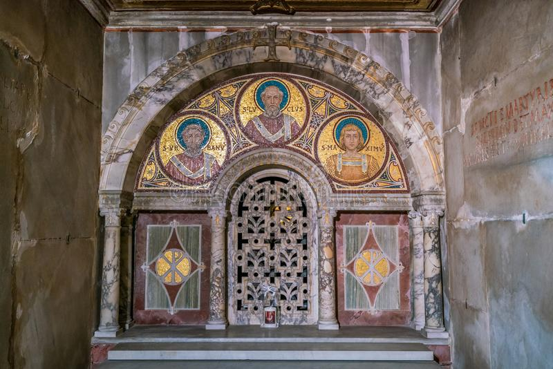 The crypt of Santa Cecilia in Trastevere Church in Rome, Italy. stock photo