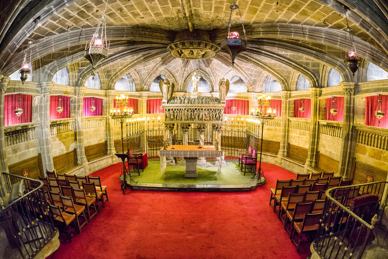 Crypt of Santa Eulalia in Barcelona cathedral, Spain royalty free stock photo