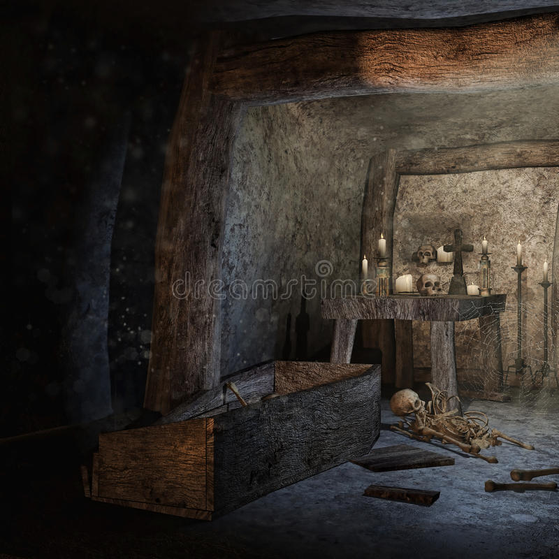 Crypt with scattered bones. Old crypt with scattered bones and skulls stock illustration