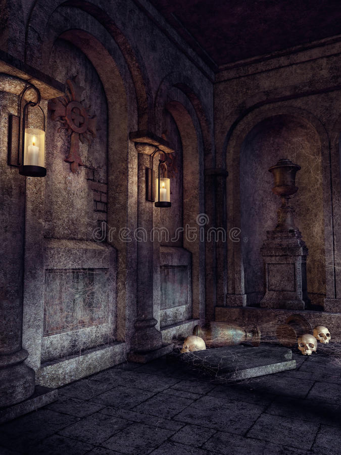 Crypt with skulls and lanterns. Interior of an old gothic crypt with wall lamps and skulls on the floor vector illustration