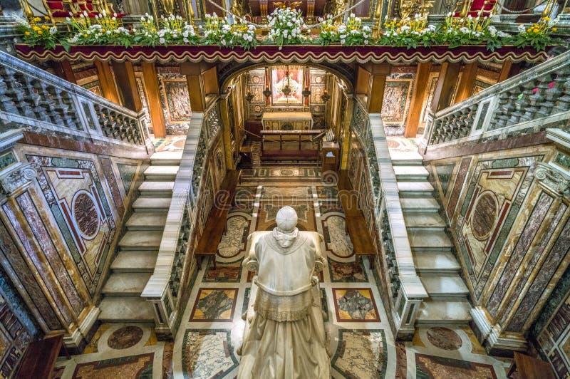 The crypt with the statue of Pio IX in the Basilica of Santa Maria Maggiore in Rome, Italy. The Basilica di Santa Maria Maggiore, or church of Santa Maria stock photo