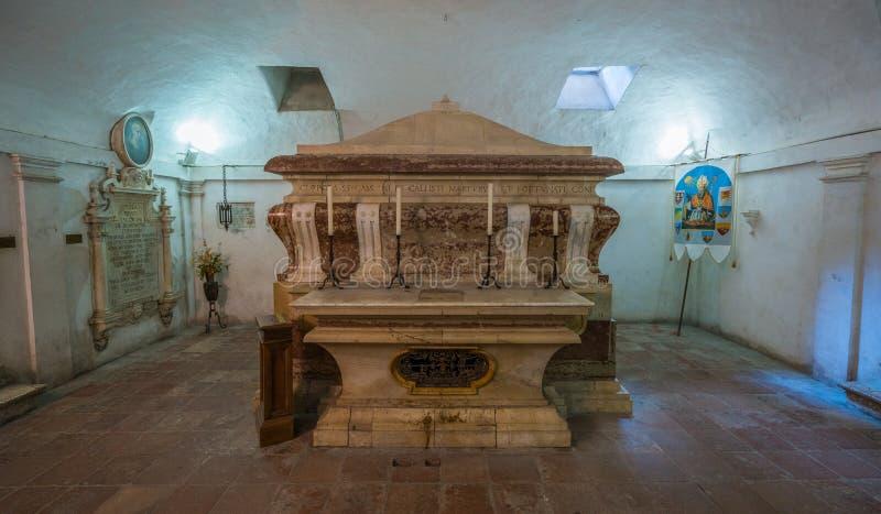 Crypt in the Tempio di San Fortunato in Todi, Province of Perugia, Umbria. royalty free stock images