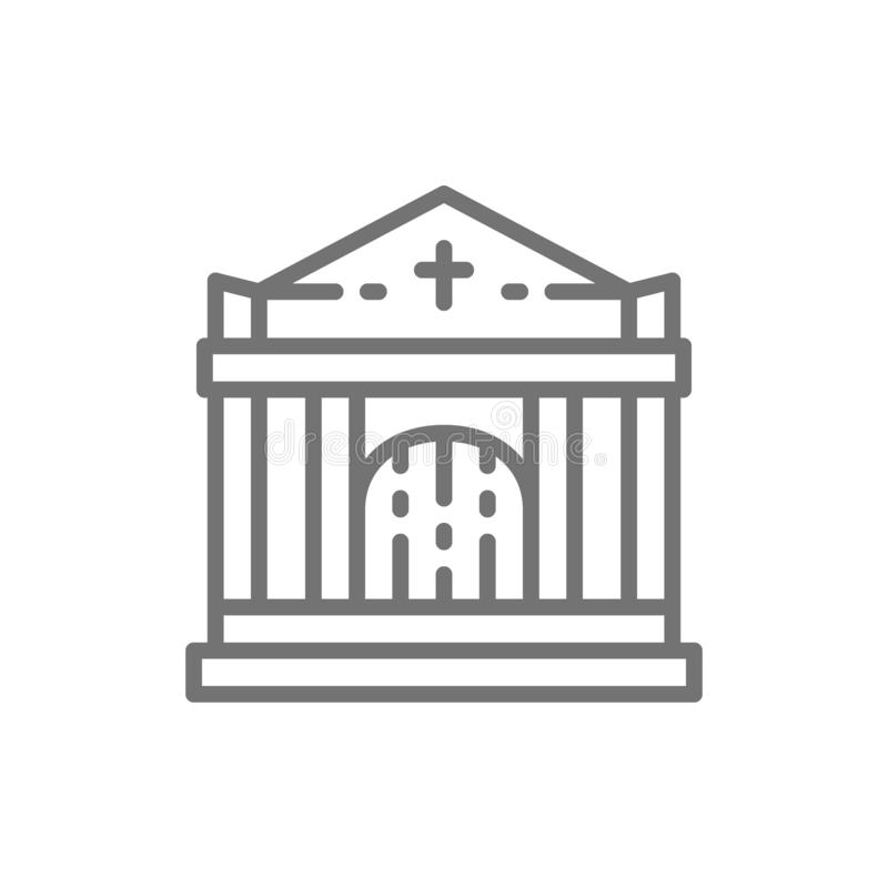 Crypt, tomb house, cemetery, church line icon. Vector crypt, tomb house, cemetery, church line icon. Symbol and sign illustration design. Isolated on white vector illustration