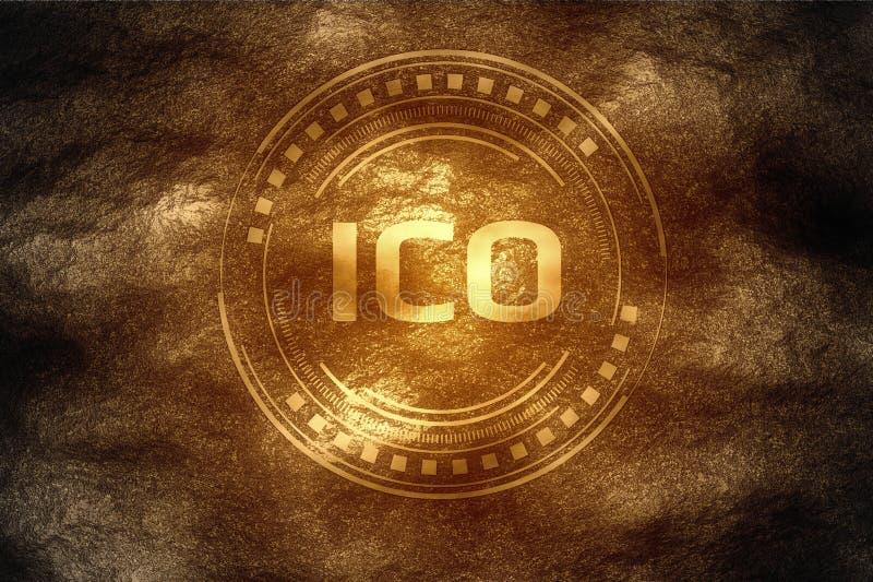 Crypto έννοια μεταλλείας νομίσματος Αρχικό νόμισμα που προσφέρει ICO που βρίσκεται μετά από να σκάψει κάτω κάτω από το χώμα σκληρ διανυσματική απεικόνιση