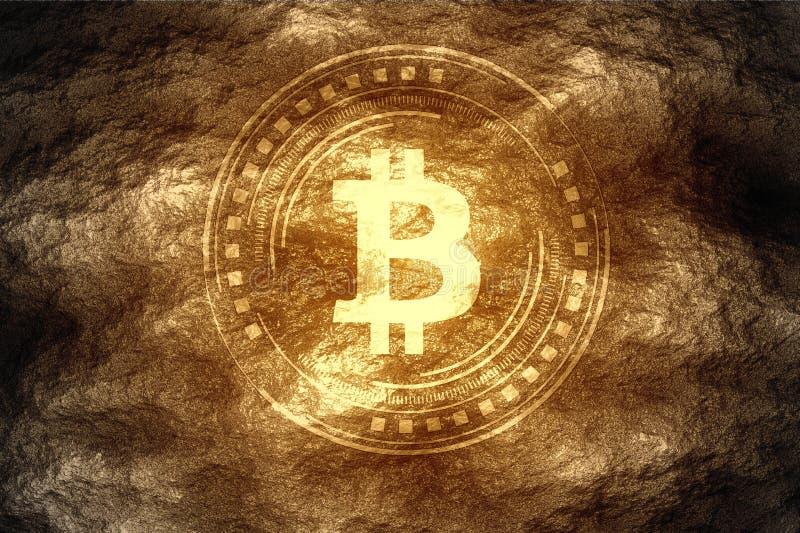 Crypto έννοια μεταλλείας νομίσματος Bitcoin BTC που βρίσκεται μετά από να σκάψει κάτω κάτω από το χώμα σκληρής ροκ διανυσματική απεικόνιση