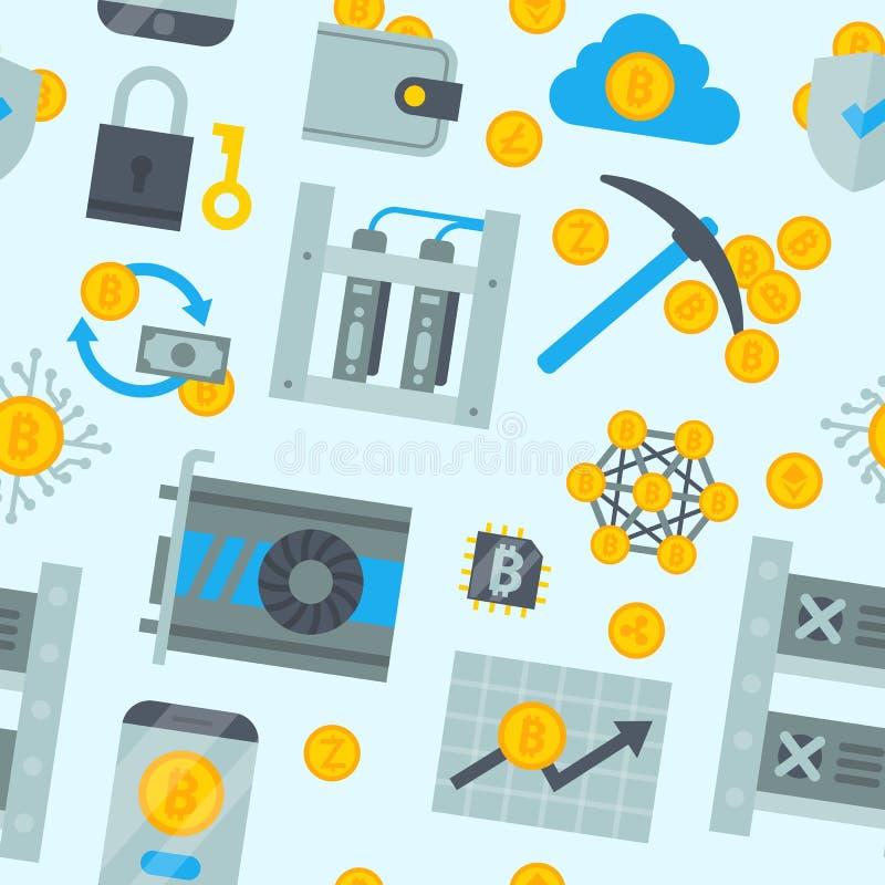 Crypto επιχειρησιακών κομματιών Διαδικτύου χρηματοδότησης εικονιδίων χρημάτων μεταλλείας Bitcoin διανυσματικά εικονικά νομίσματα  διανυσματική απεικόνιση