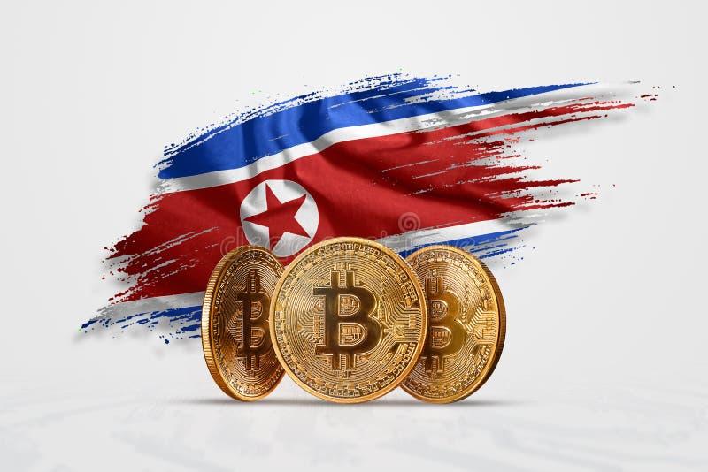 Crypto νόμισμα, χρυσό νόμισμα BITCOIN BTC Νόμισμα bitcoin στα πλαίσια της σημαίας της Βόρεια Κορέας Η έννοια ένα νέο νόμισμα απεικόνιση αποθεμάτων