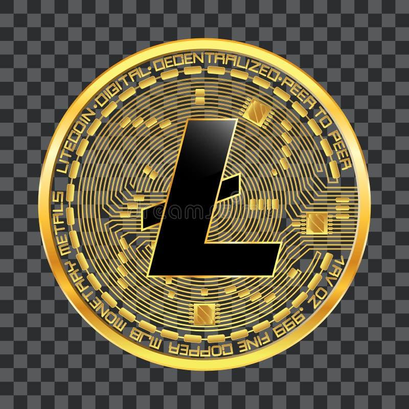 Crypto χρυσό σύμβολο νομίσματος litecoin απεικόνιση αποθεμάτων