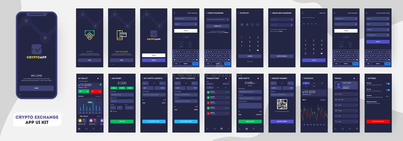 Crypto App UI Uitrusting voor ontvankelijke mobiele toepassing of website royalty-vrije illustratie