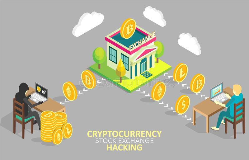 Crypto beurs die vectorillustratie binnendringen in een beveiligd computersysteem royalty-vrije illustratie